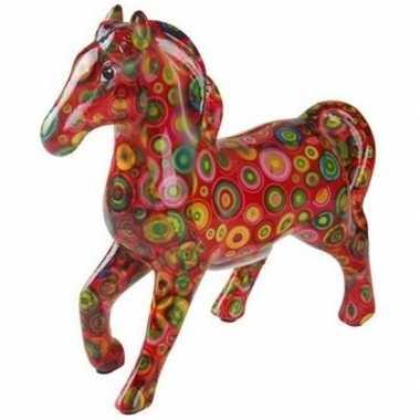 Spaarpot paard 21 cm rood/cirkels