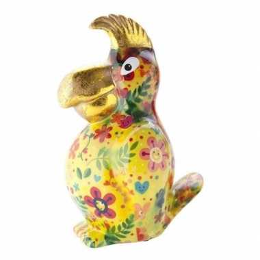 Spaarpot papegaai 22 cm geel type 1