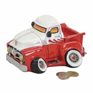 Spaarpot pick-up truck rood/wit 17 cm