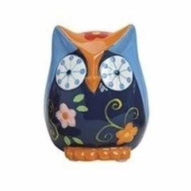 Spaarpot uil blauw/oranje van keramiek 9 cm