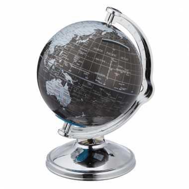 Spaarpot wereldbol zwart 11 cm