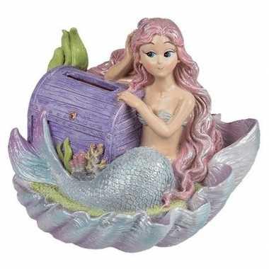 Spaarpot zeemeermin met paarse schatkist