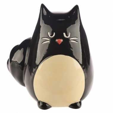 Spaarpot zwarte kat/katten beeldje 13 cm