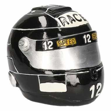 Spaarpot zwarte race helm