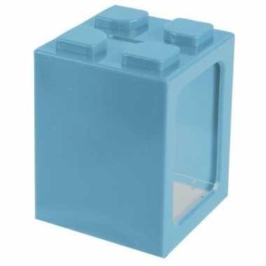 Turquoisee bouwsteentjes spaarpot 11 cm