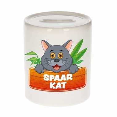 Vrolijke grijze katten / poezen spaarpotten 9 cm