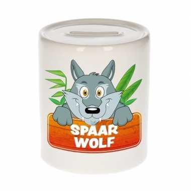Vrolijke wolven spaarpotten 9 cm