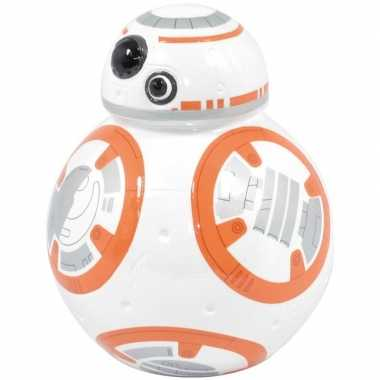 Wit oranje star wars spaarpot bb 8 robot droid 12 cm