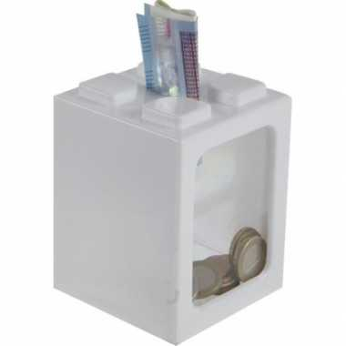 Wite bouwsteentjes spaarpot 11 cm