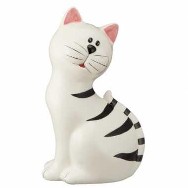 Witte kat met zwarte strepen spaarpot 23 cm