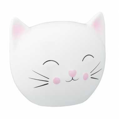 Witte spaarpot kattenhoofd 15 cm