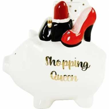 Witte spaarpot/spaarvarken shopping queen 17 cm