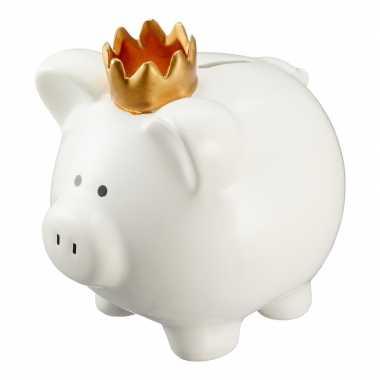 Witte varken spaarpot/spaarvarken 15 cm