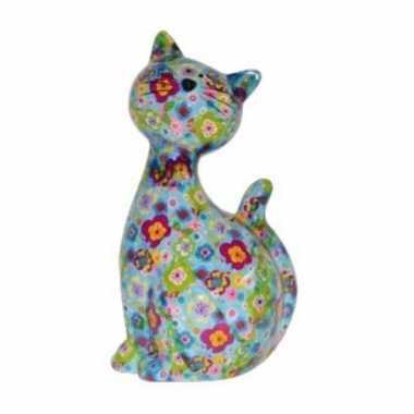 Xl spaarpot kat/poes lichtblauw met bloemetjes 30 cm