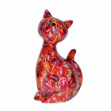 Xl spaarpot kat/poes rood met bloemetjes 30 cm