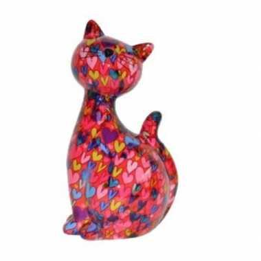 Xl spaarpot kat/poes roze met hartjes 30 cm