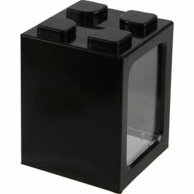 Zwarte bouwsteentjes spaarpot 11 cm