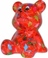 Spaarpot beer rood met flamingo print 16 cm