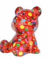 Spaarpot beer rood met snoepjes print 16 cm