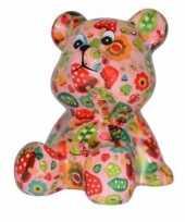 Spaarpot beer roze met paddestoel 16 cm