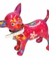Spaarpot chihuahua hond paars roze met bloemen print 21 cm