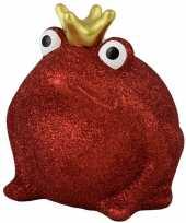 Spaarpot kikker met kroontje rood glitters 16 cm
