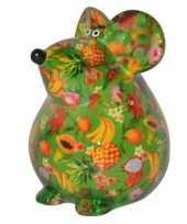 Spaarpot muis 17 cm groen type 2
