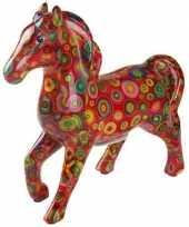 Spaarpot paard 21 cm rood cirkels