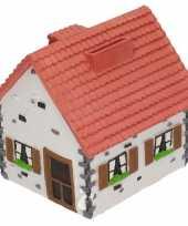 Spaarpot type woonhuis wit met rood 12 cm
